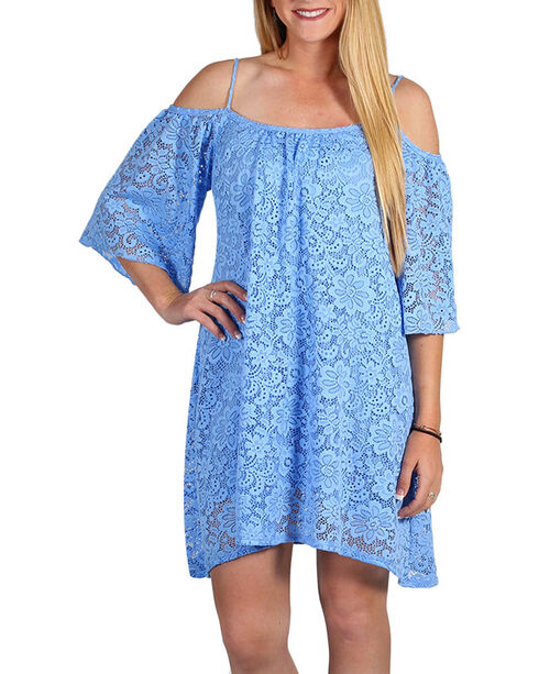Jody of California Women's Blue Shoulder Lace Dress , Blue, hi-res