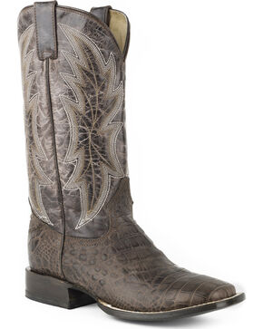 Roper Men's Brown Alligator Print Western Boots - Square Toe , Brown, hi-res