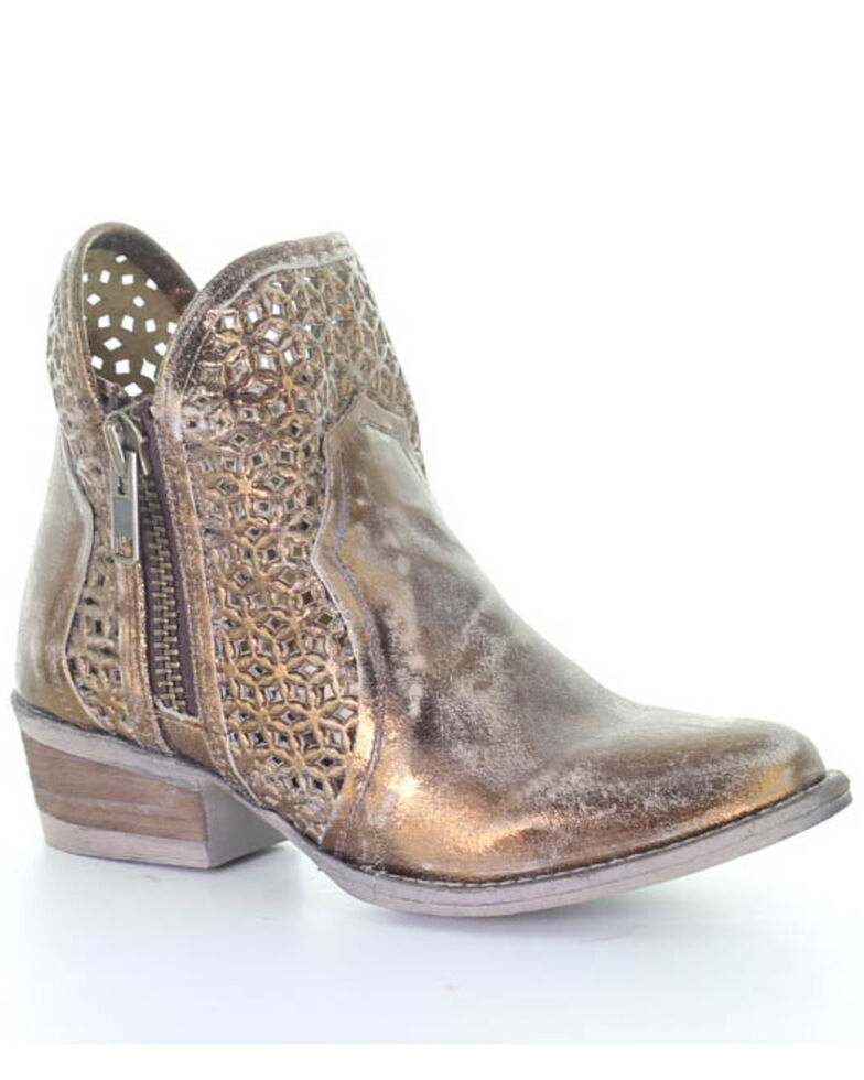 Circle G Women's Copper Cut Out Fashion Booties - Round Toe, Bronze, hi-res