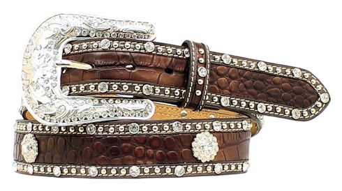 Nocona Croc Print Studded Concho Leather Belt, Brown, hi-res