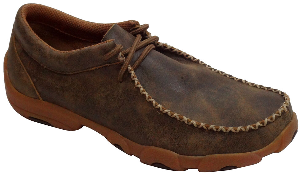 Twisted X Men's Bomber Brown Driving Mocs, Bomber, hi-res