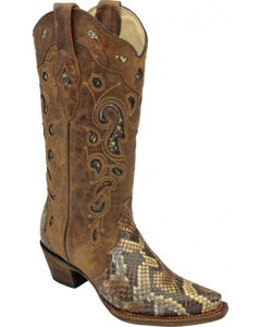 Corral Python Inlay Cowgirl Boots - Snip Toe, Brown, hi-res