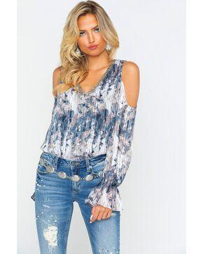 Miss Me Women's Pleated Cold Shoulder V-Neck Shirt, Grey, hi-res