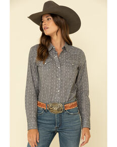West Made Women's Grey Arrow Long Sleeve Western Shirt, Grey, hi-res