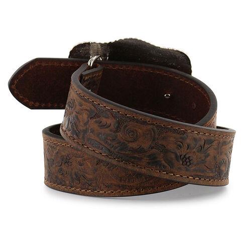 Cody James® Kid's Floral Tooled Belt, Brown, hi-res