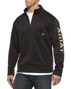 Ariat Tek Fleece 1/4 Zip Pullover, Black, hi-res