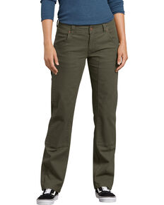 Dickies Women's Solid Stretch Double Front Duck Carpenter Pants , Moss Green, hi-res
