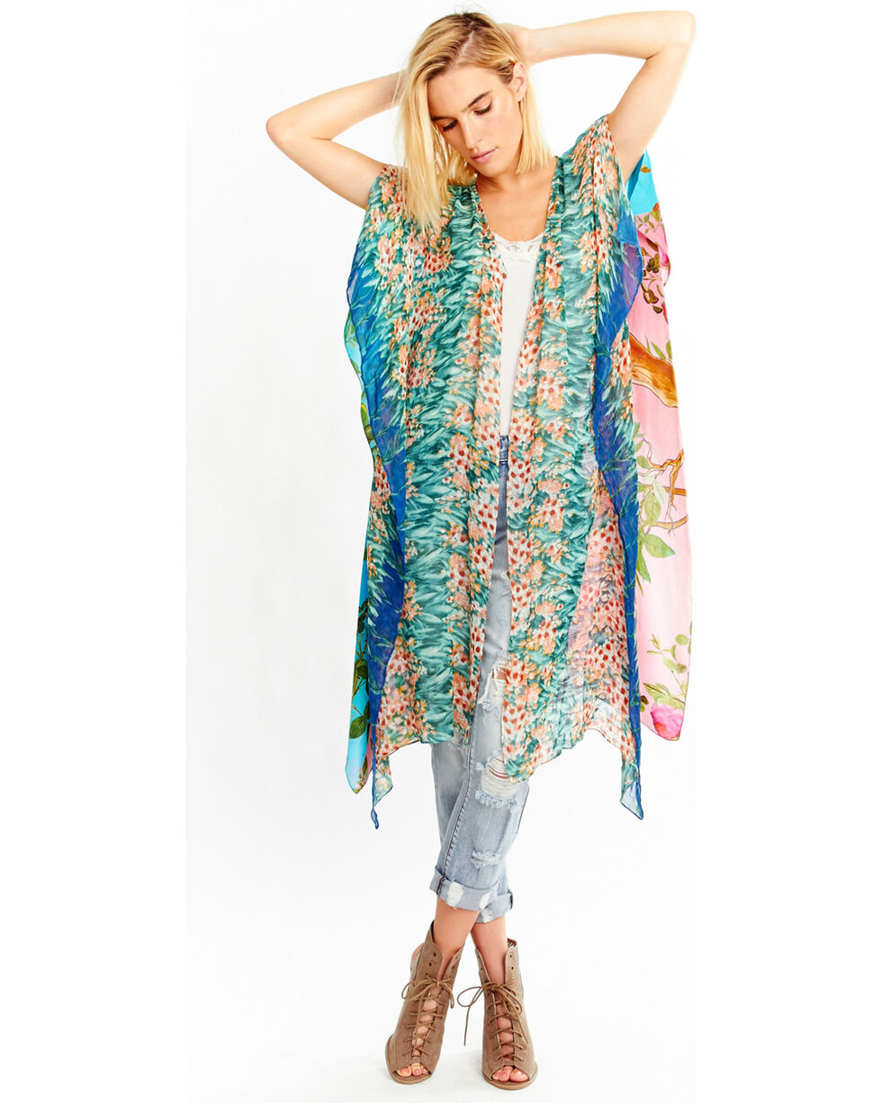 Aratta Women's Nature's Ability Kimono, Teal, hi-res