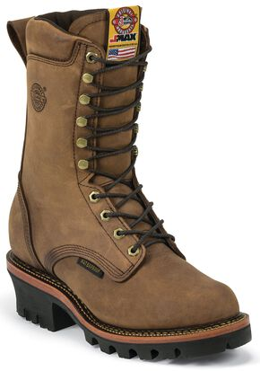 "Justin Men's Casement 10"" Aged Bark EH Waterproof Logger Boots - Soft Toe, Aged Bark, hi-res"