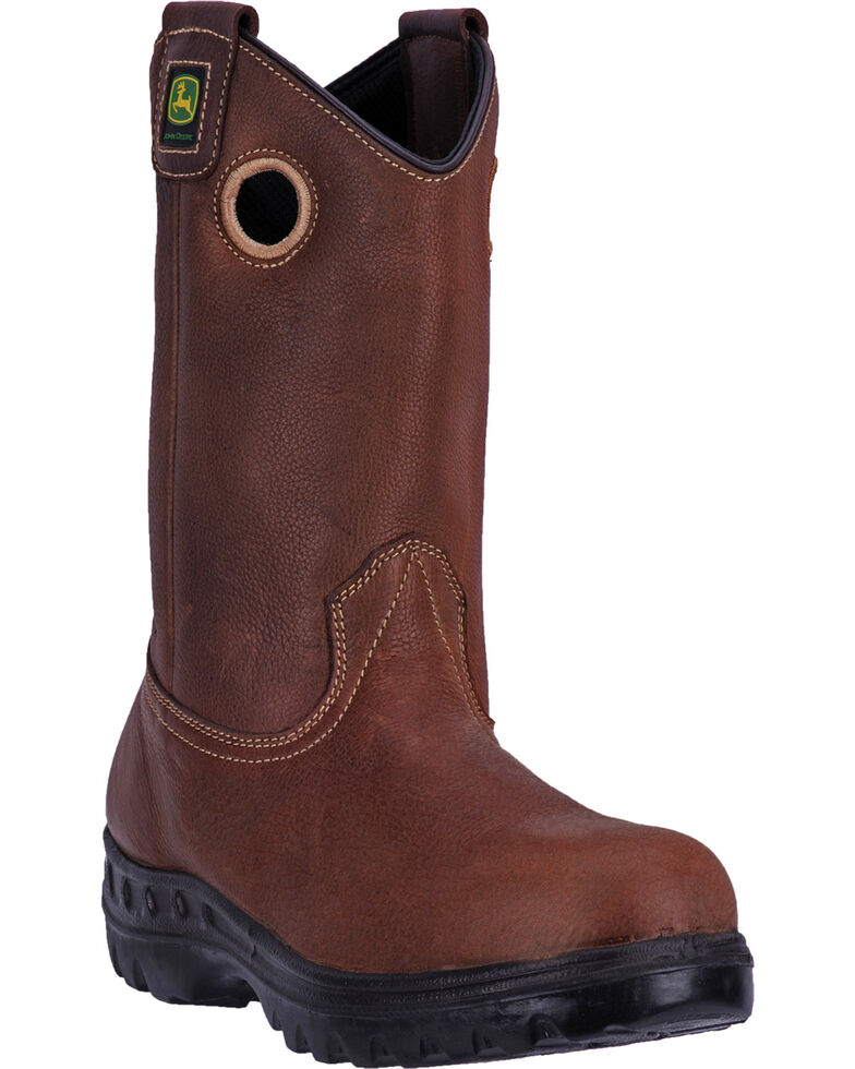 "John Deere Men's Brown 11"" Waterproof Leather Boots - Round Toe, Brown, hi-res"