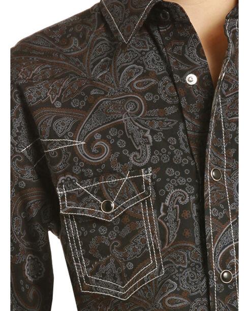 Rock & Roll Cowboy Boys' Paisley Print Triple Stitch Long Sleeve Snap Shirt, Black, hi-res