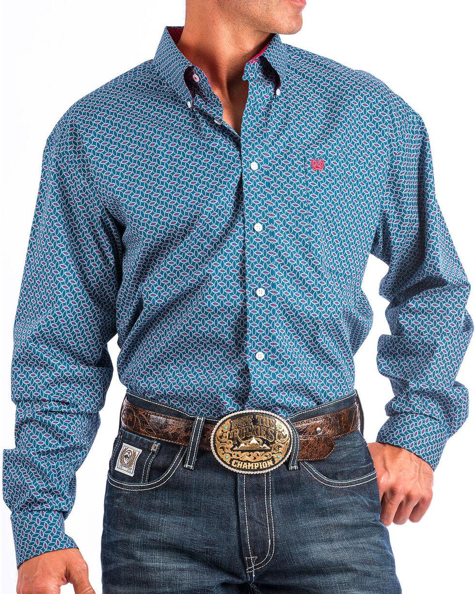 Cinch Men's Navy Allover Print Western Shirt , , hi-res