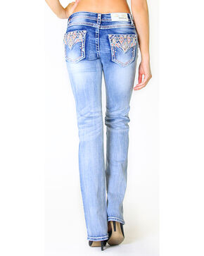 Grace in LA Women's Embroidered Flap Pocket Light Wash Jeans - Boot Cut, Indigo, hi-res