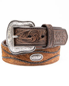 Cody James Men's Brown Hair On Concho Leather Western Belt , Brown, hi-res