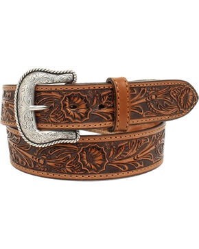Nocona Men's Salinas Tan Floral Embossed Leather Belt, Tan, hi-res