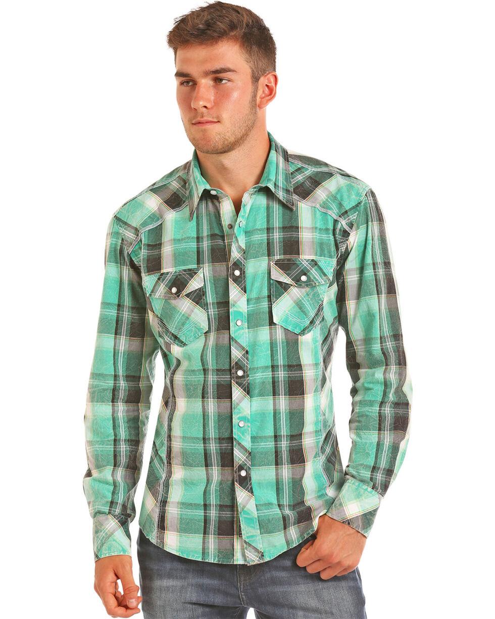 Rock & Roll Cowboy Men's Green Crinkle Washed Plaid Shirt , Green, hi-res