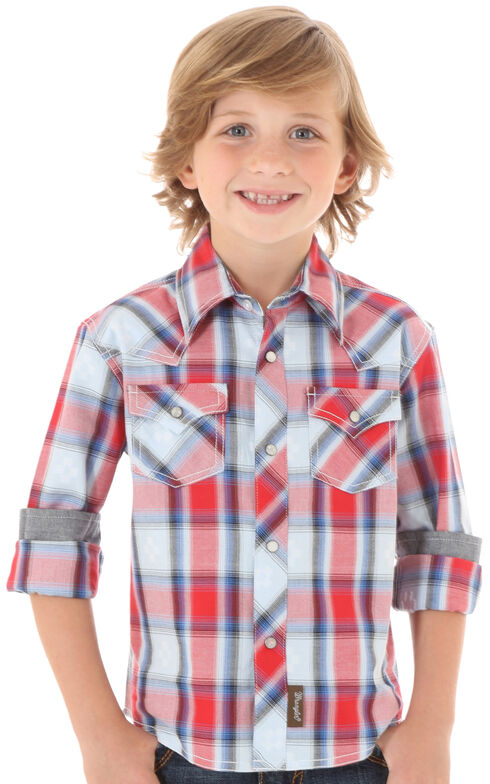 Wrangler Boys' Blue & Red Plaid Long Sleeve Shirt, Red, hi-res