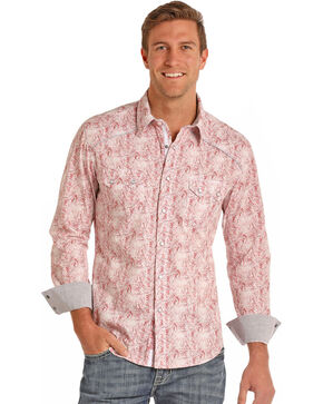Rock & Roll Cowboy Men's Paisley Long Sleeve Pearl Snap Shirt, Red, hi-res