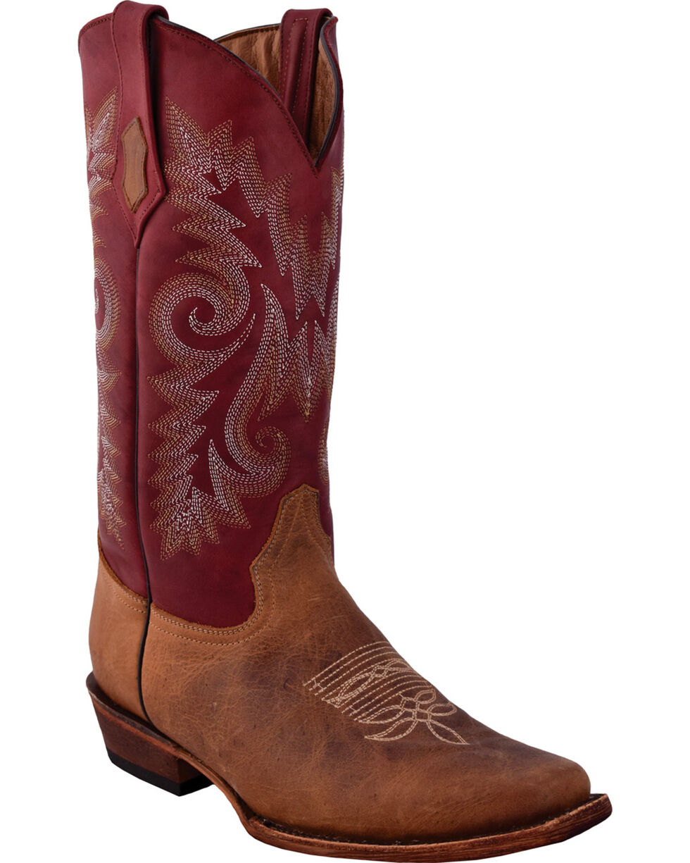 Ferrini Men's Roughrider Distressed Brown Cowgirl Boots - Wide Square Toe, Distressed Brown, hi-res