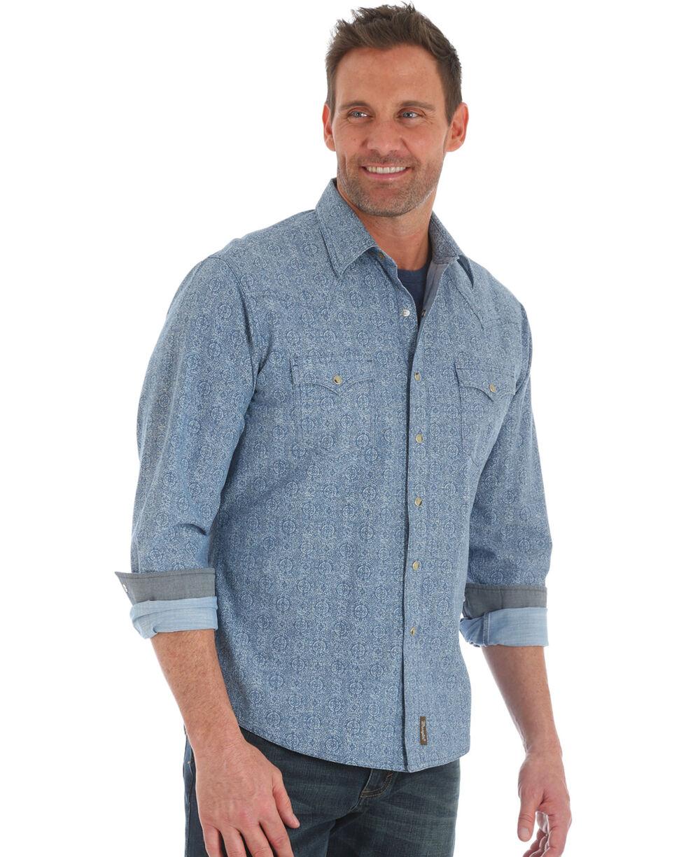 Wrangler Retro Men's Blue Paisley Print Long Sleeve Shirt , Blue, hi-res