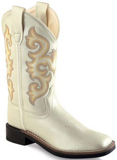Old West Girls' White Western Boots - Square Toe, White, hi-res