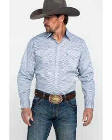 b34b630e290 Ely Cattleman Mens Blue Print Long Sleeve Western Shirt