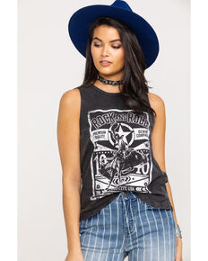 Rock & Roll Cowgirl Women's Lace Up Back Rodeo Muscle Tank Top, Black, hi-res