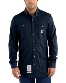 179688517f1f Carhartt Mens Navy Flame-Resistant Force Cotton Hybrid Shirt - Big   Tall