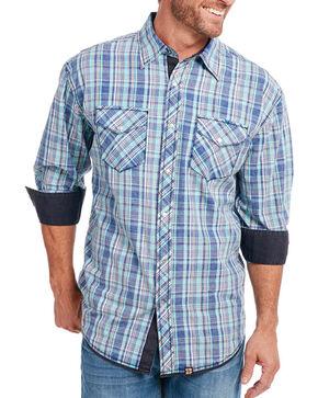 Cowboy Up Men's Vintage Wash Plaid Long Sleeve Shirt, Blue, hi-res