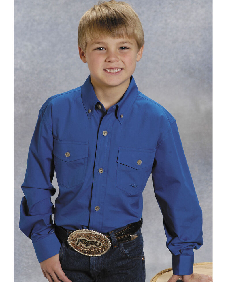 Roper Boy's Long Sleeve Poplin Western Shirt, , hi-res