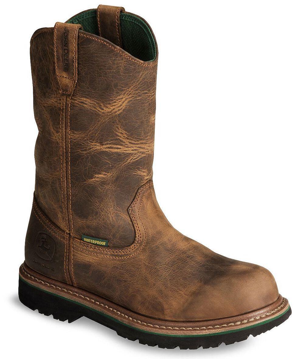 John Deere Waterproof Wellington Work Boots - Soft Toe, Oak, hi-res