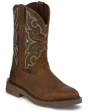 Justin Men's Stampede Western Work Boots - Steel Toe, Brown, hi-res