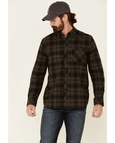 North River Men's Ivy Green Barn Plaid Long Sleeve Western Flannel Shirt , Green, hi-res