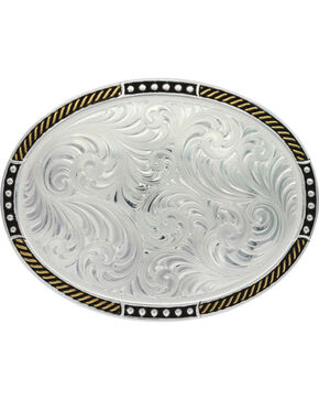 Montana Silversmith Silver Simple Filigree Belt Buckle , Silver, hi-res
