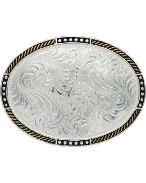 Montana Silversmiths Silver Simple Filigree Belt Buckle , Silver, hi-res