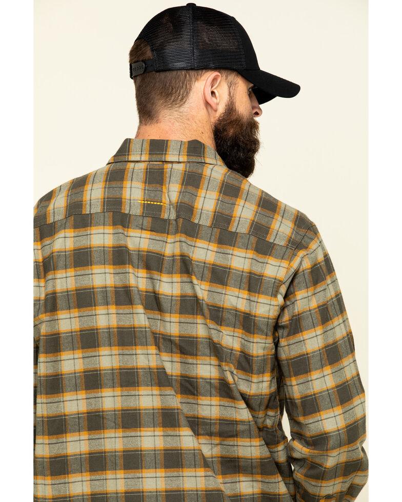 Ariat Men's Olive Rebar Flannel Durastretch Plaid Long Sleeve Work Shirt - Tall , Olive, hi-res