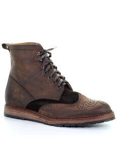 Circle G Men's Lace-Up Boots - Round Toe, Chocolate, hi-res