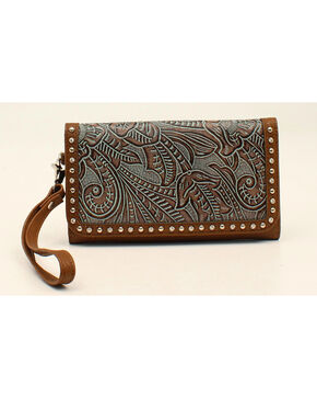 Blazin Roxx Floral Embossed Clutch Wallet, Blue, hi-res