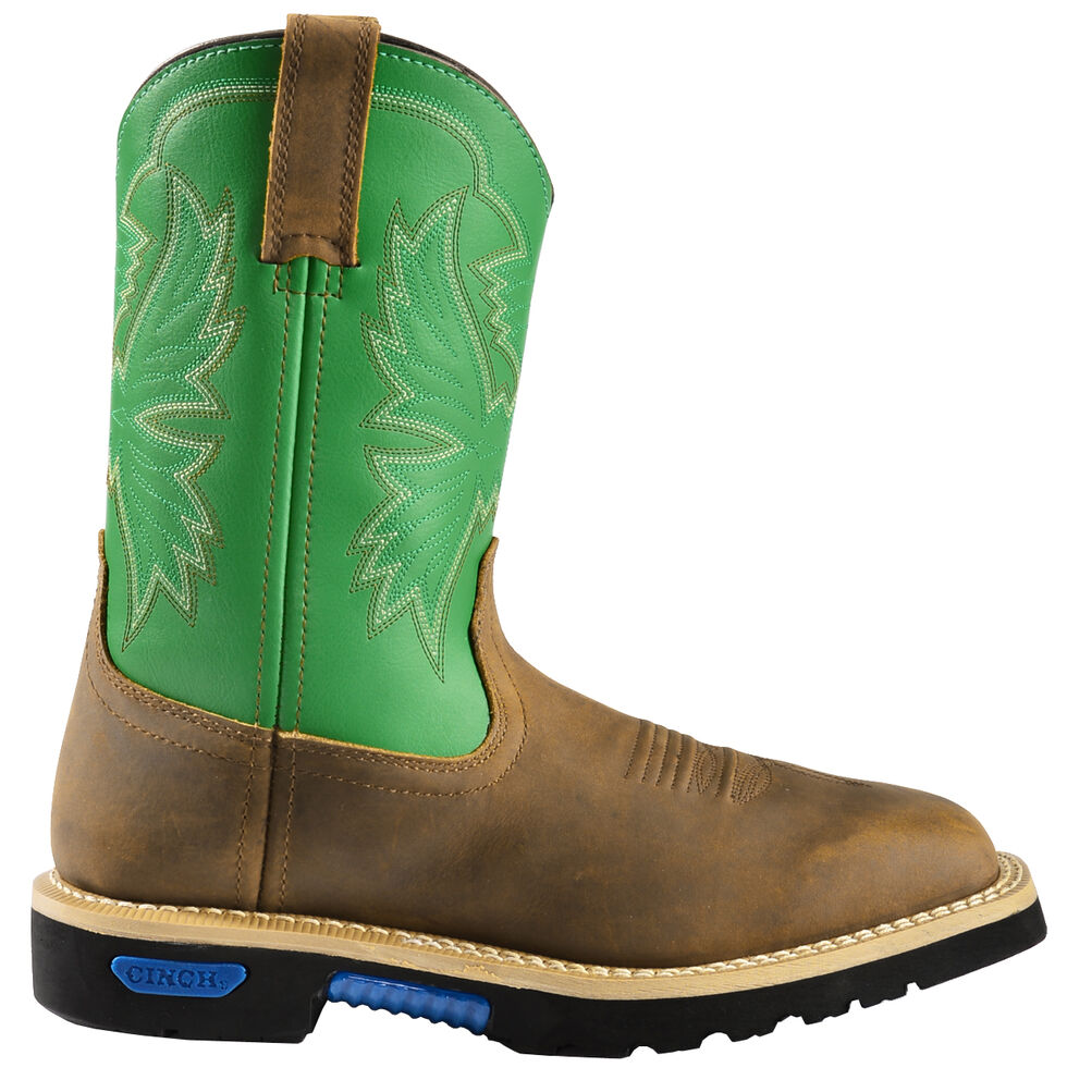 "Cinch Men's Green 10"" Pull-On Work Boots - Square Toe, Brn Bomber, hi-res"