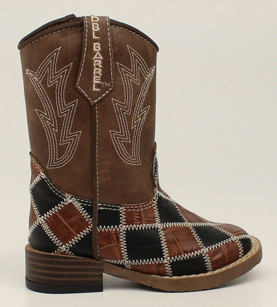 Double Barrel Toddler Boys' Andy Cowboy Boots - Square Toe, Brown, hi-res