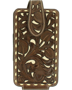 Nocona Floral Pierced Laced Edge Large Cell Phone Case Holder , Tan, hi-res
