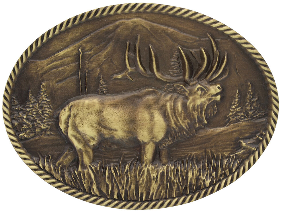 Montana Silversmiths Sculpted Wild Elk Heritage Attitude Belt Buckle, Gold, hi-res