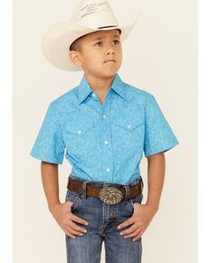 Ely Walker Boys' Turquoise Paisley Print Short Sleeve Snap Western Shirt , Turquoise, hi-res