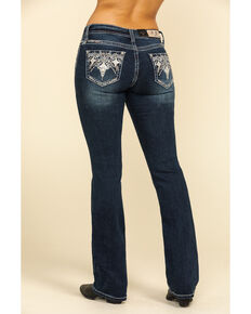 "Grace in LA Women's Dark Wash Embroidered 34"" Bootcut Jeans , Blue, hi-res"