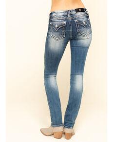 Miss Me Women's 2-Tone Heavy Border Stitch Basic Flap Bootcut Jeans, Blue, hi-res