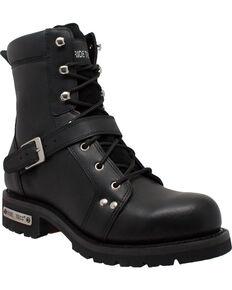 """Ad Tec Men's 8"""" Lace Zipper Biker Boots - Soft Toe, Black, hi-res"""