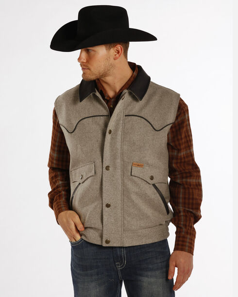 Powder River Outfitters Men's Holbrook Solid Wool Vest - Big & Tall, Charcoal, hi-res