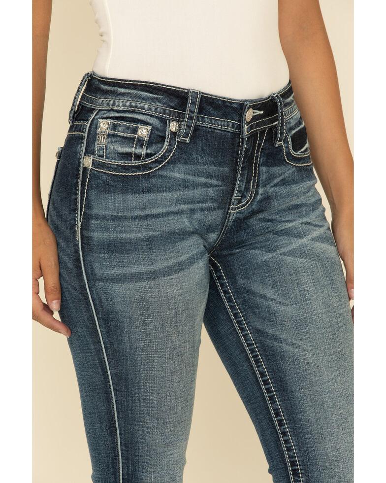 Miss Me Women's Slim Bootcut Floral Jeans, Blue, hi-res