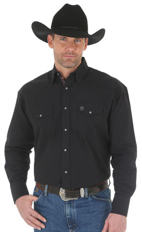 Wrangler George Straight Men's Troubadour Long Sleeve Shirt - Big & Tall, Black, hi-res