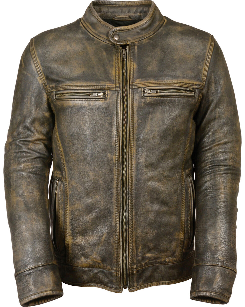 Milwaukee Leather Men's Brown Distressed Scooter Jacket w/ Venting - Big - 4X, Black/tan, hi-res